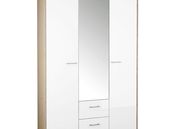Wardrobe - 3 Doors 2 Drawers in Oak with White High Gloss
