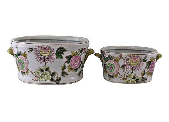 Set of 2 Ceramic Footbath Planters, Floral Design