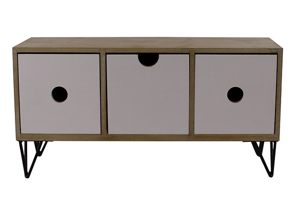 3 Drawer Trinket Unit with Wire Legs, Horizontal Style