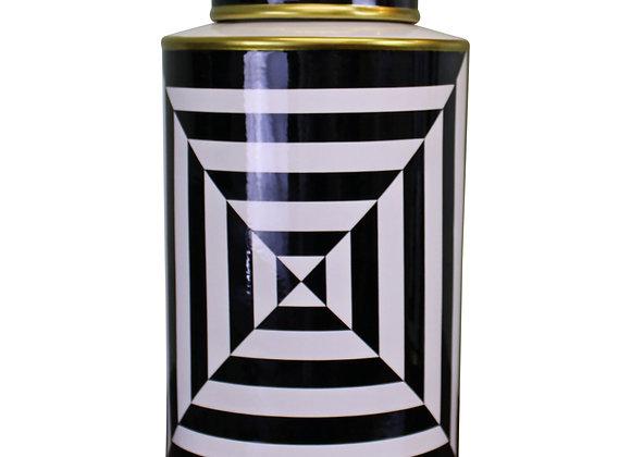 Black/White/Gold Ceramic Lidded Vase, Geometric Design 29cm