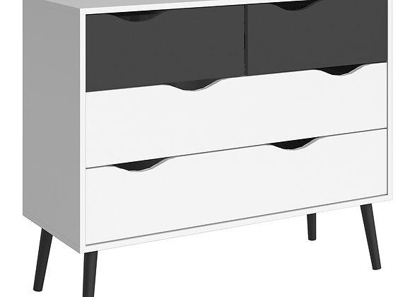 Chest of 4 Drawers (2+2) in White and Black Matt