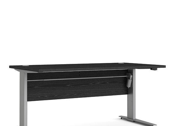 Prima Desk 150 cm in Black woodgrain with Height adjustable legs in grey steel
