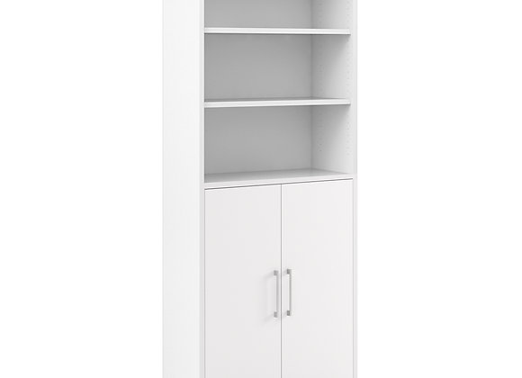 Prima Bookcase 5 Shelves with 2 Doors in White