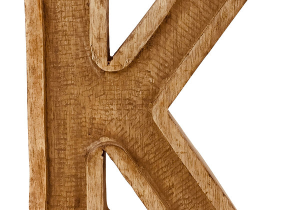 Hand Carved Wooden Embossed Letter K