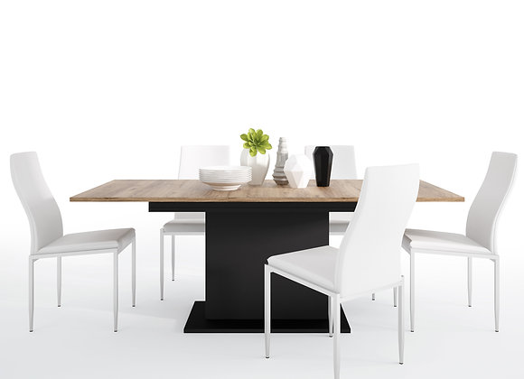 Dining set package Brolo Extending Dining Table + 6 Milan High Back Chair White.