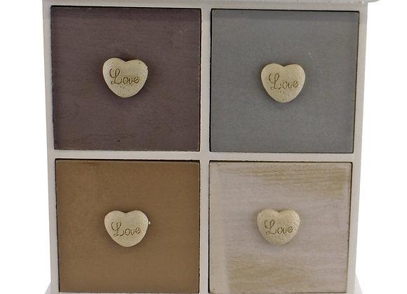 White & Neutral Coloured Love Heart Trinket Drawers