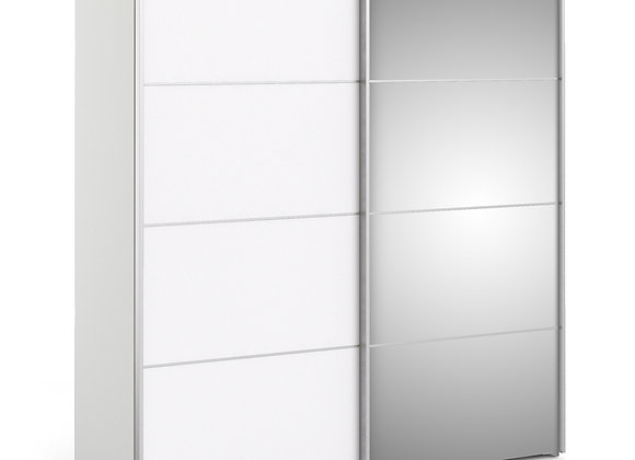 Sliding Wardrobe 180cm in White with White and Mirror Doors with 2 Shelves