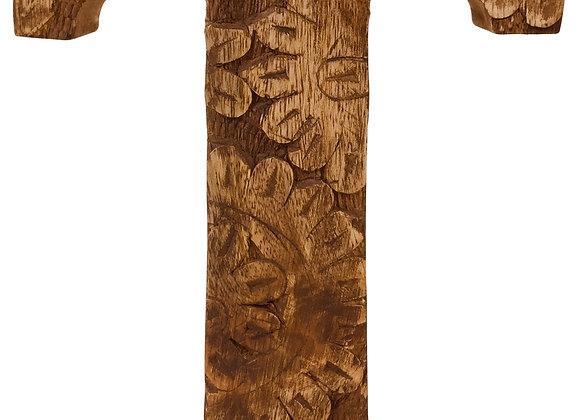 Hand Carved Wooden Flower Letter T