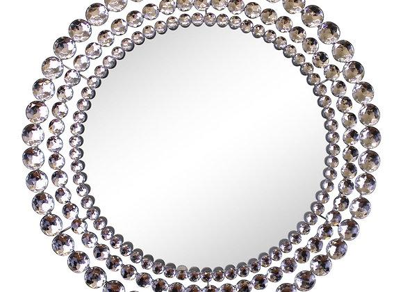 Silver Metal Jewelled Circular Wall Mirror