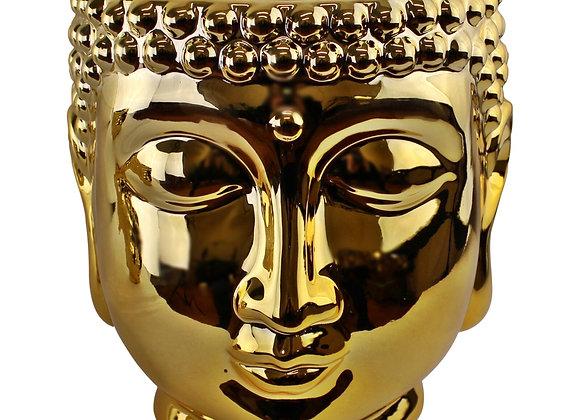Gold Ceramic Buddha Head Planter, 20cm