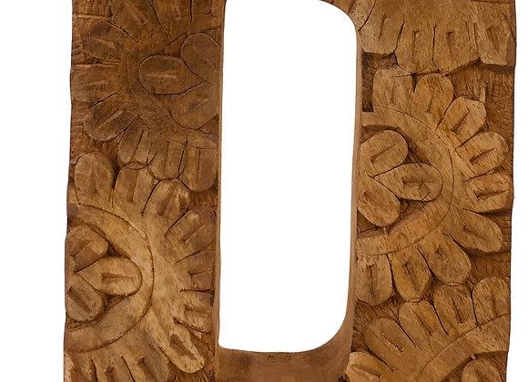Hand Carved Wooden Flower Letter D