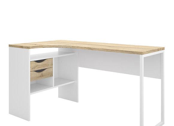 Corner Desk 2 Drawers in White and Oak