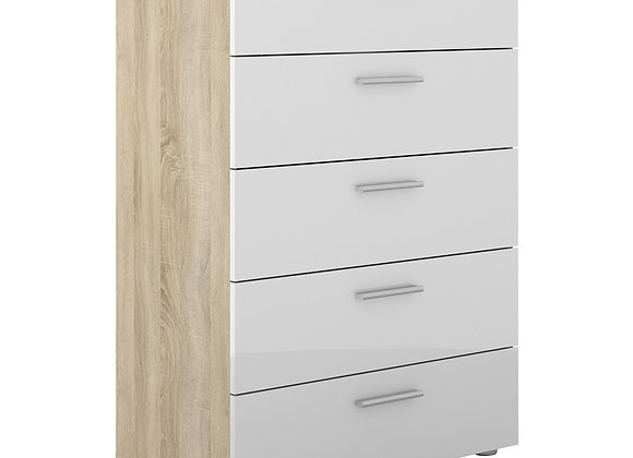 Chest of 5 Drawers in Oak with White High Gloss