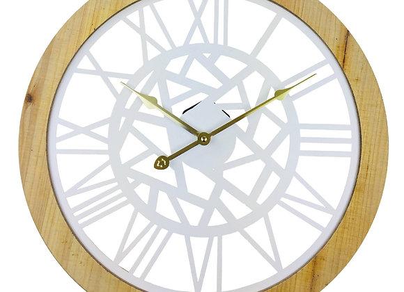 Roman Numeral White Metal Cut Out Wall Clock 45cm
