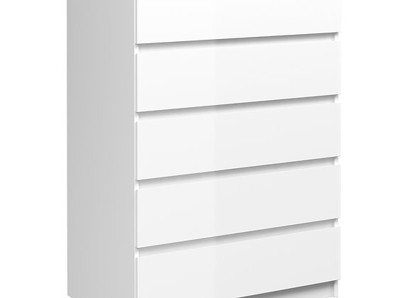 Chest of 5 Drawers in White High Gloss