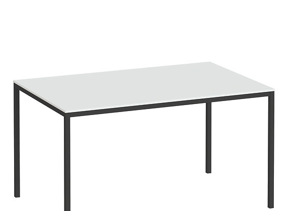 Family Dining Table 140cm White Table Top with Black Legs