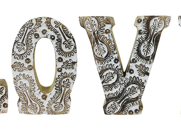 Hand Carved Wooden White Flower Letters Love