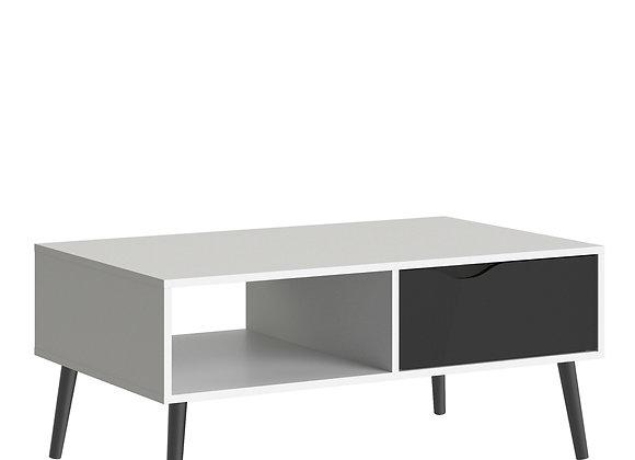 Coffee Table 1 Drawer 1 Shelf in White and Black Matt
