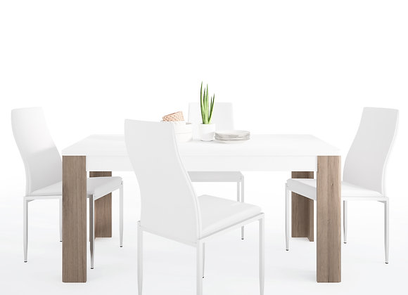 Dining set package Toronto 160 cm Dining Table + 4 Milan High Back Chair White.