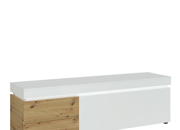 Luci 1 door 2 drawer 180 cm wide TV unit in White and Oak