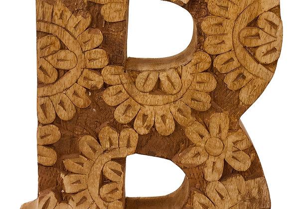 Hand Carved Wooden Flower Letter B