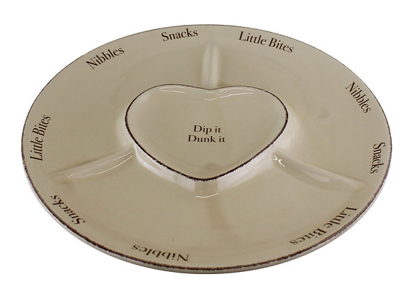 Heart Range Large Round Snack & Dip Plate 30cm