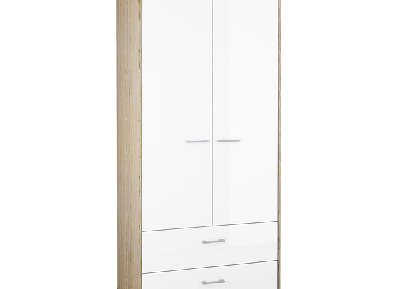 Wardrobe - 2 Doors 2 Drawers in Oak with White High Gloss