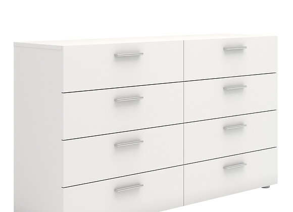 Wide Chest of 8 Drawers (4+4) in White