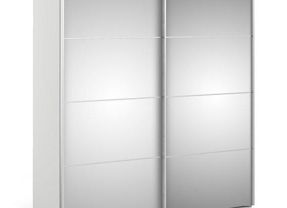 Sliding Wardrobe 180cm in White with Mirror Doors with 2 Shelves