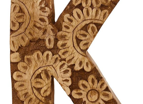 Hand Carved Wooden Flower Letter K