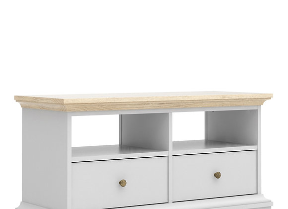 TV Unit - 2 Drawers 2 Shelves in White and Oak