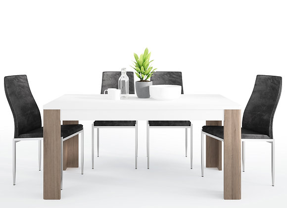 Dining set package Toronto 160 cm Dining Table + 6 Milan High Back Chair Black.