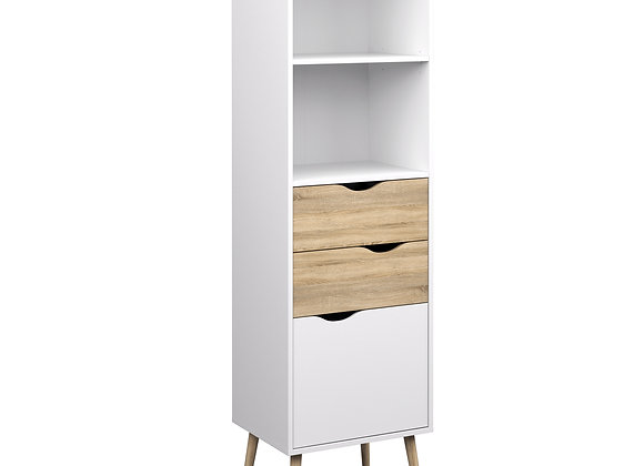 Bookcase 2 Drawers 1 Door in White and Oak
