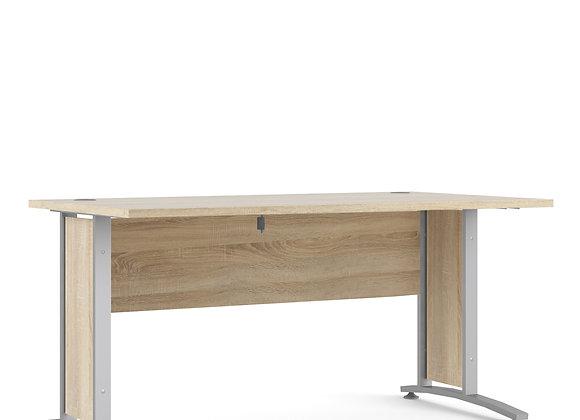 Prima Desk 150 cm in Oak with Silver grey steel legs