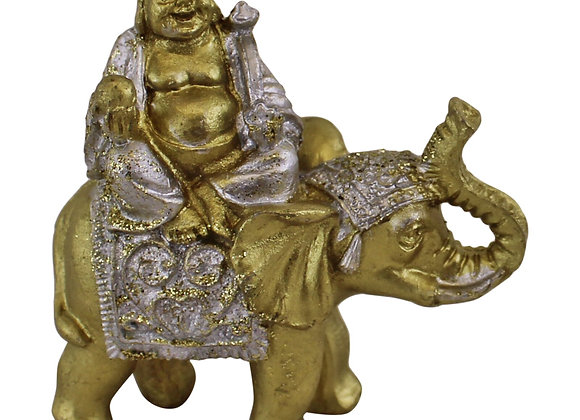 Miniature Buddha Sitting On Elephant Ornament