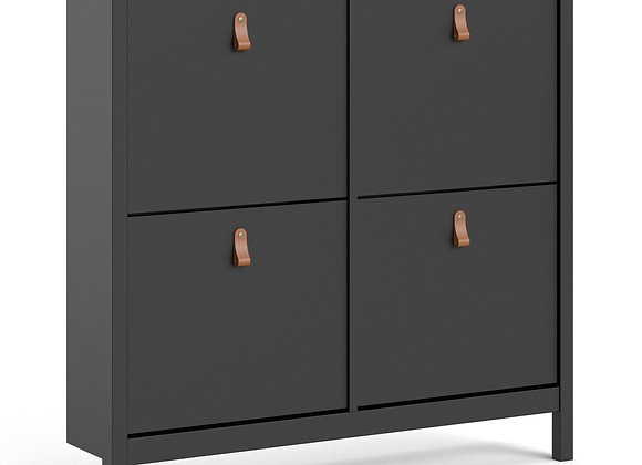 Barcelona Shoe cabinet 4 compartments in Matt Black