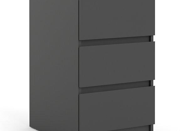 Bedside - 3 Drawers in Black Matt