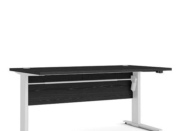 Prima Desk 150 cm in Black woodgrain with Height adjustable legs in White