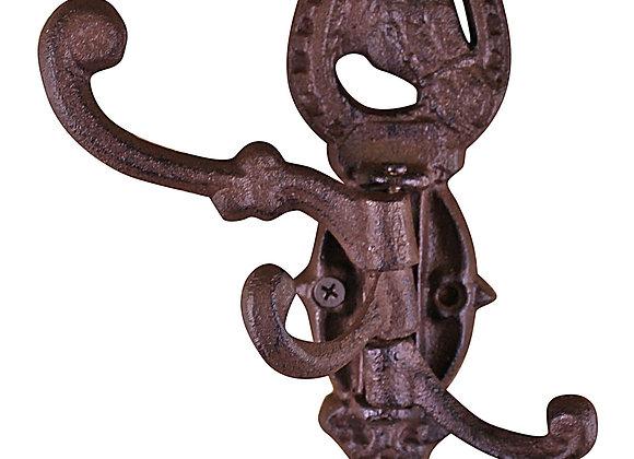 Cast Iron Wall Mounted Rotating Coat Hooks, Horse, 3 hooks