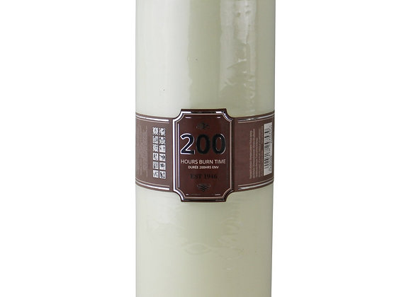 Cream Pillar Candle, 200hr Burn Time