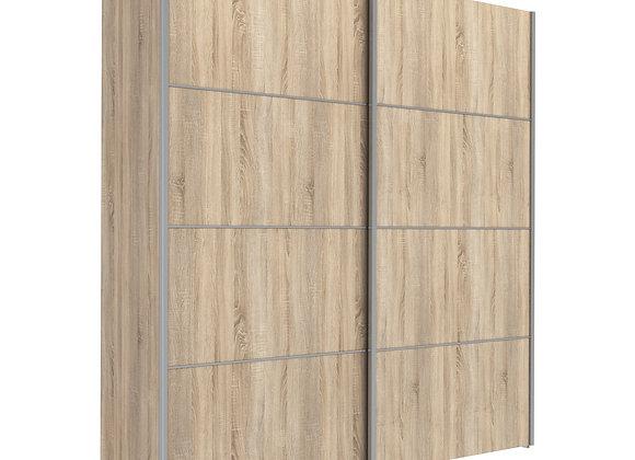 Sliding Wardrobe 180cm in Oak with Oak Doors with 2 Shelves