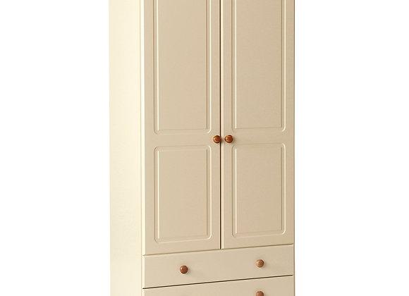 2 Door 2 Drawer Robe Cream and Pine