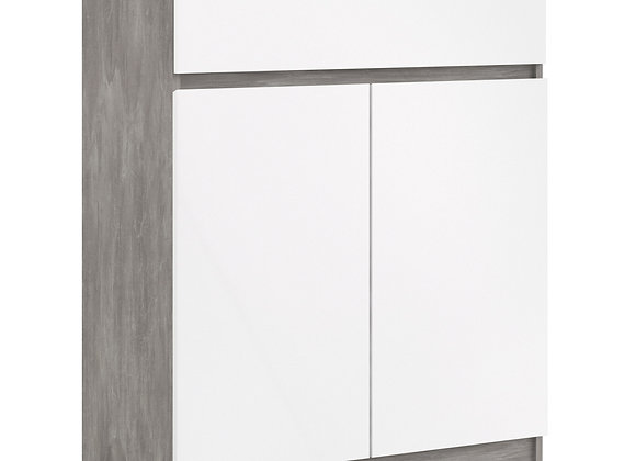 Naia Sideboard - 1 Drawer 2 Doors in Concrete and White High Gloss