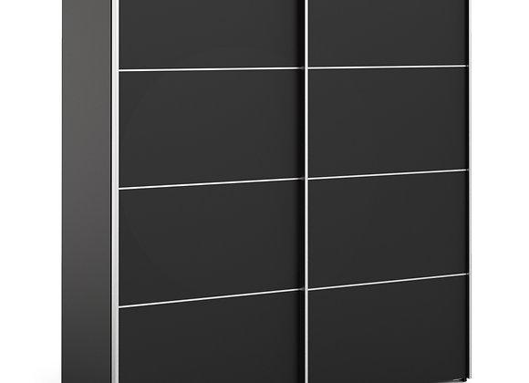 Verona Sliding Wardrobe 180cm in Black Matt with Black Matt Doors with 2 Shelves