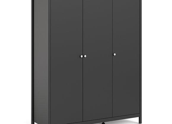 Madrid Wardrobe with 3 doors in Matt Black