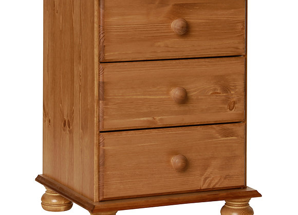 3 Drawer Bedside Pine