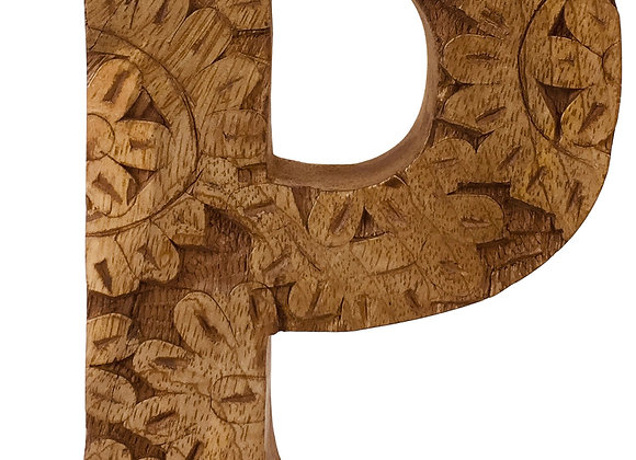 Hand Carved Wooden Flower Letter P