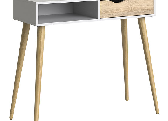 Console Table 1 Drawer 1 Shelf in White and Oak