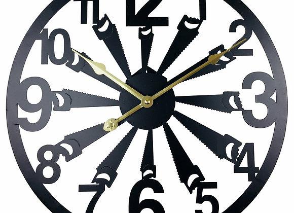 Black Metal Saw Cut Out Wall Clock 40cm