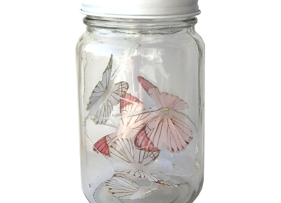 Butterfly Led Light Chain In Glass Jam Jar - Pink